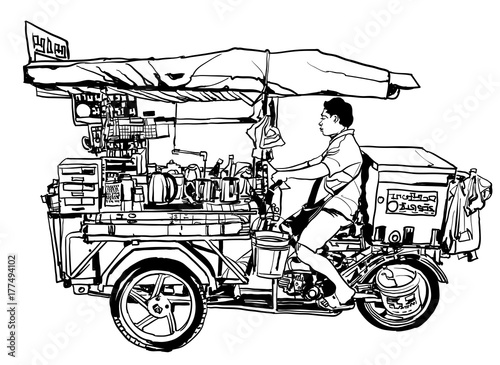 In de dag Art Studio Bangkok, Thailand. street food tricycle