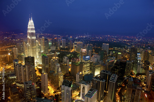 Top View Kuala Lumpur city skyline night Poster