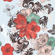 Beautiful pattern illustration with hand drawn poppy flowers in vintage style for design - 177500191
