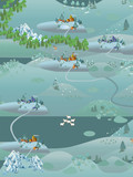 Winter christmas background with a snowy village landscape. Vector. - 177500365