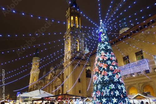 Christmas tree in Pilar square, Saragossa, Spain