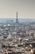 Skyline of Paris city roofs with Eiffel Tower from above, France