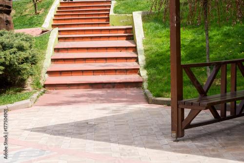Poster Küçük meydan ve tuğla merdiven