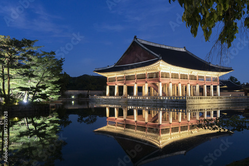 In the middle of the building, there is a signboard called Gyeonghoeru Pavilion in Chinese characters Poster
