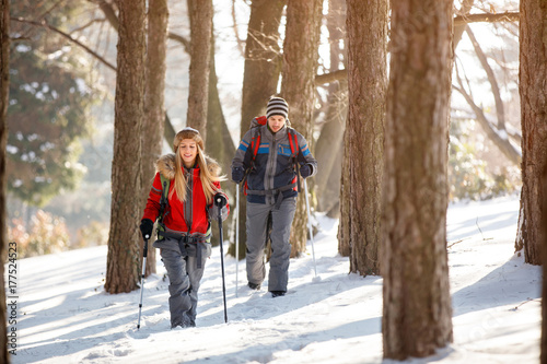 Male and female hiking in winter forest Poster