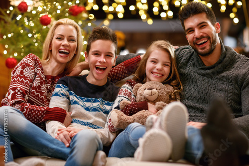 Cheerful family together for Christmas