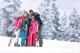 Family together skiing on mountain - 177526316