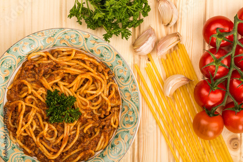 Italian Style Spaghetti Bolognese Meal  With a Rich Beef Sauce Poster