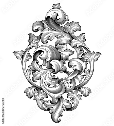 Vintage Baroque Victorian frame border corner monogram floral engraved scroll ornament leaf retro flower pattern decorative design tattoo black and white filigree calligraphic vector heraldic shield