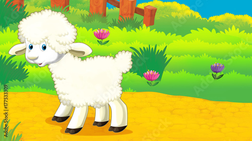 Aluminium Boerderij cartoon scene with sheep standing on the meadow and looking illustration for children