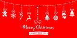 Weihnachten Icons hängend an Leine rot weiß - 177533755