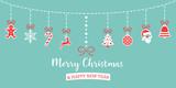 Weihnachten Icons hängend an Leine blau rot - 177533760