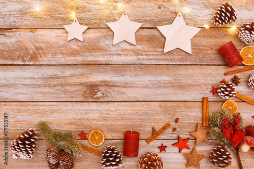 Above view on christmas table with copy space Poster