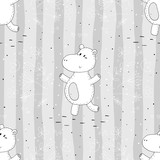 Seamless pattern with cute hippo. vector print. - 177539148