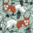 Seamless pattern with Squirrel in forest. Vector hand drawn style. - 177540521