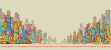 City panorama, hand drawn cityscape, vector drawing architecture illustration - 177543764