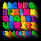 Alphabet colorful letters and numbers