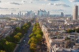 skyline of Paris city towards La Defense district from above, France