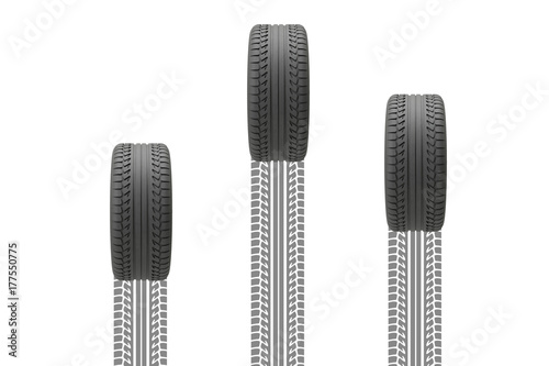© PixlMakr - Fotolia.com Three tyres with treadmarks