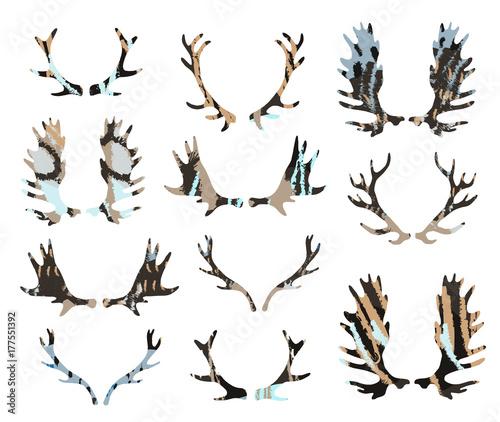 Aluminium Hipster Hert Antlers set. Silhouettes of rustic antler designs.