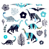 Vector set of cartoon dinosaures. For cards, party, banners, and children room decoration.