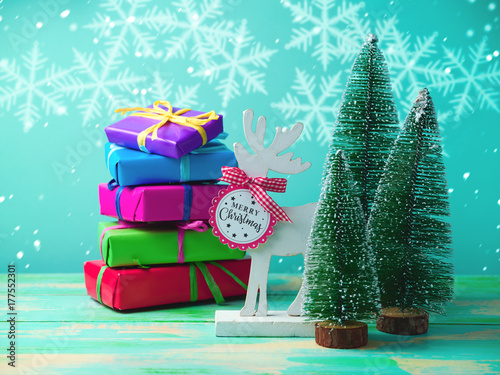 Christmas background with reindeer плакат