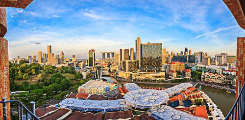 Stadtpanorama von Singapur Poster
