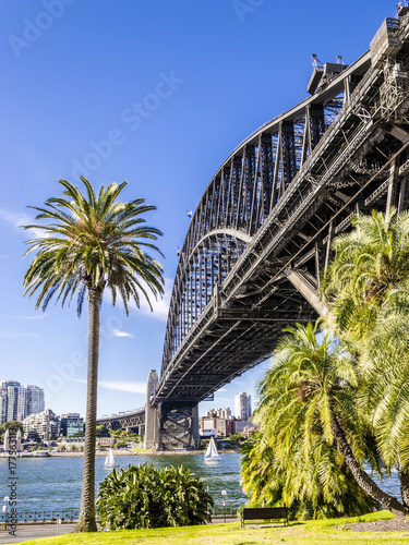 the iron bridge in Sydney viewed from the Rock quarter Poster