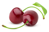 Cherry isolated. Two fresh cherries on white background