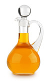 Vegetable oil in glass bottle isolated on white background