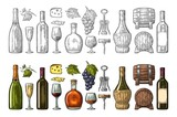 Set drinks made from grapes. Wine, brandy, champagne - 177574943