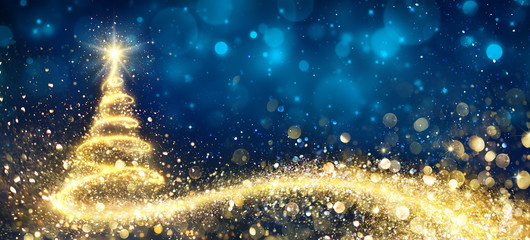 Golden Christmas Tree In Abstract Night