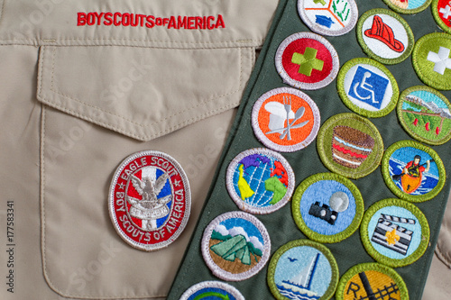 Foto Spatwand Eagle Eagle patch and merit badge sash on boy scout uniform