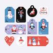 Holiday and Christmas hand drawing gift tags set