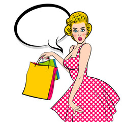 Blonde woman Pop art vintage customer. Shop black friday sale. Sexy young attractive pinup girl hold bag. Retro wow surprised face open mouth. Speech bubble, empty comic text box. Female breast