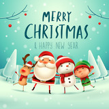 Merry Christmas! Happy Christmas companions. Santa Claus, Snowman, Reindeer and elf in Christmas snow scene. - 177600543