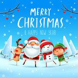 Merry Christmas! Happy Christmas companions. Santa Claus, Snowman, Reindeer and elf in Christmas snow scene. - 177600553