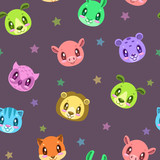 Seamless pattern with cute animal faces.