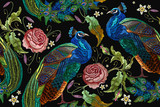 Embroidery peacocks and flowers peonies seamless pattern. Classical fashionable embroidery beautiful peacocks. Fashionable template for design of clothes. Tails of peacocks and roses - 177610721