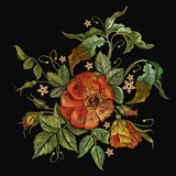 Embroidery wild roses, dogrose flowers. Fashionable template tapestry flowers renaissance. Classic style embroidery, beautiful dogrose pattern vector. Vintage buds of wild roses on black background. - 177610729