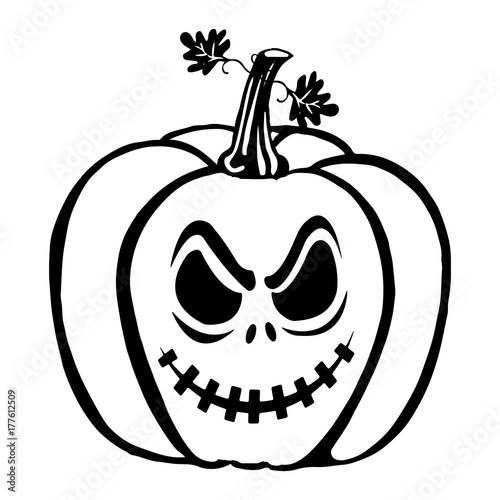 Halloween, Pumpkin silhouette-drawing, on white background,