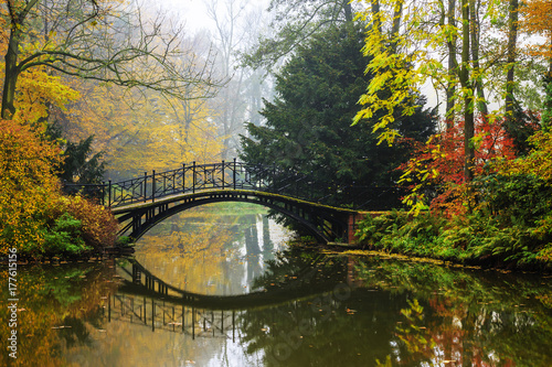 Sticker Scenic view of misty autumn landscape with beautiful old bridge in the garden with red maple foliage.
