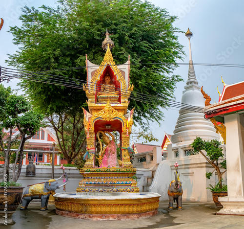 Decoration and Gold Buddha Statue in Buddhist temple Wat Chana Songkhram Poster