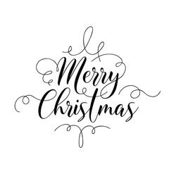 Merry Christmas Handwriting Script Lettering. Invitation Greeting Background. Vector illustration