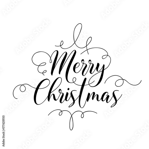 Merry Christmas Handwriting Script Lettering. Invitation Greeting Background. Vector illustration