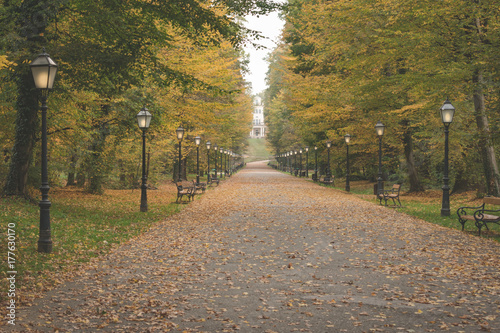 Plexiglas Herfst Early morning view of the promenade with lanterns in the famous Maksimir park in Zagreb, Croatia, in autumn
