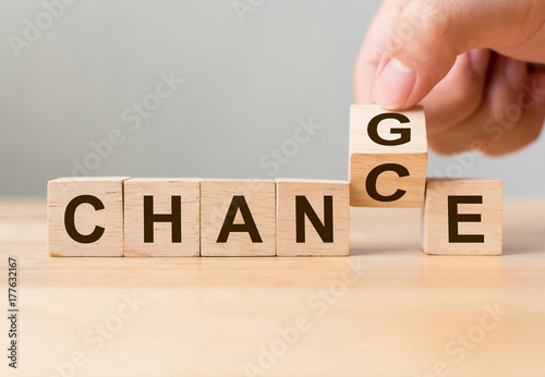 "Leinwanddruck Bild Hand flip wooden cube with word ""change"" to ""chance"", Personal development and career growth or change yourself concept"