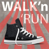 Walk and run concept modern art sneakers. Youth sneakers poster for Your business project. Vector Illustration