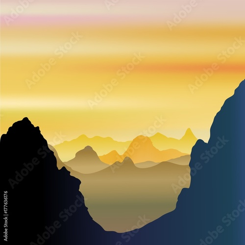 Tuinposter Draw Mountains Breathy and Misty Landscape
