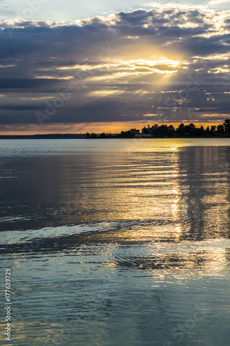 Colorful sunrise over tranquil lake Poster